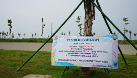 Cegah Peningkatan Covid-19, Pemkab Tangerang Tutup Tempat Wisata Pantai Pasir Putih Pik 2